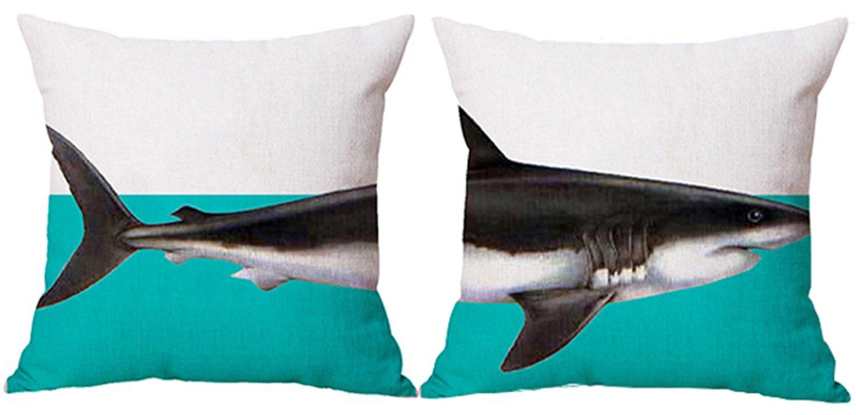 LOLOAJOY 2PCS 18inch Animal Cushion Cover Linen Square Pillowcase Shark