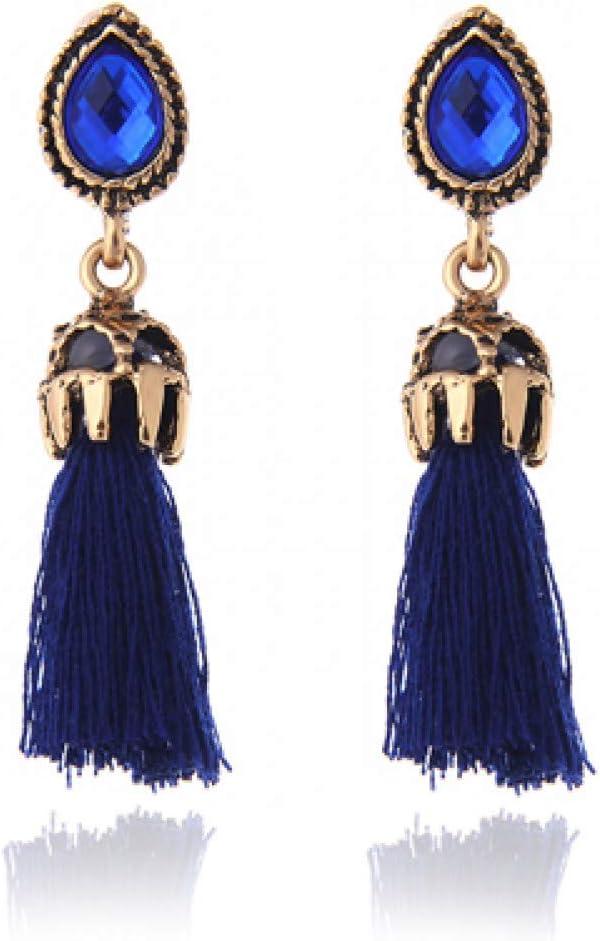 SSEHL Pendientes Joyería de Moda Pendientes de Gota de Borla Azul cristalino Largo para Las Mujeres Vintage Gris Negro Piedra cuelga los Pendientes