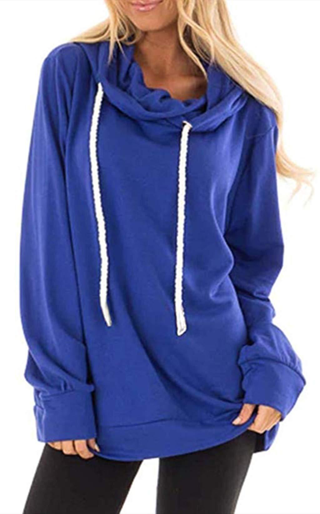Kelove Womens Solid Cowl Neck Drawstring Pullover Sweatshirts Hoodie, Casual Long Sleeve Hoodie Blue by Kelove