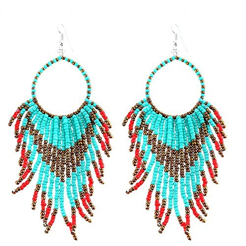 Tribal Dangle Fringe Tassel Bead & Hoop Earrings Native American Style by Pashal (Turquoise w/Red Fringe) (Native American Beaded)