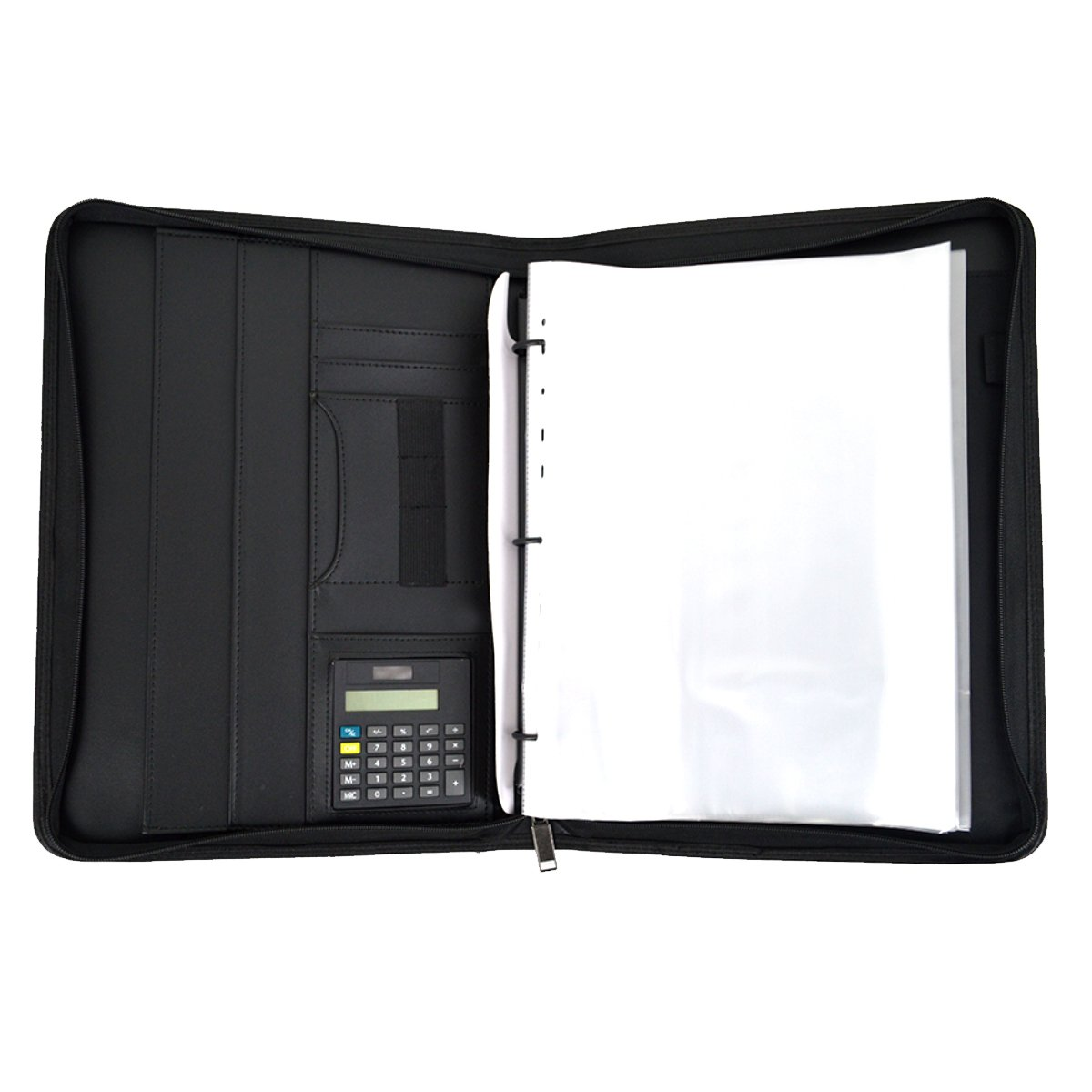 Mily Zippered Leather Business Portfolio Padfolio 3-Ring Binders A4 Business Notebook With Calculator Professional Black PU Leather File