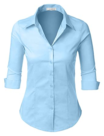 888be88be463 Amazon.com  LE3NO Womens Roll Up 3 4 Sleeve Button Down Shirt with ...