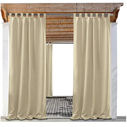 pony dance indoor outdoor curtains solid color tab top outdoor blackout panel window curtain drapes - Outdoor Curtains For Patio