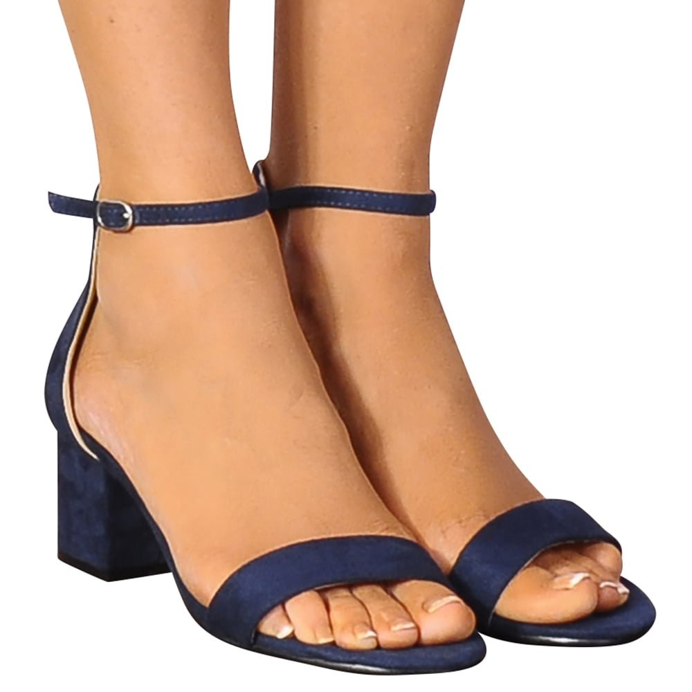 8cb913cec59 Shoe Closet Ladies Navy Blue Faux Suede Barely There Low Heeled Strappy  Sandals