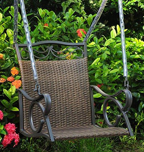 International Caravan Hanging Patio Swing in Antique Brown Finish