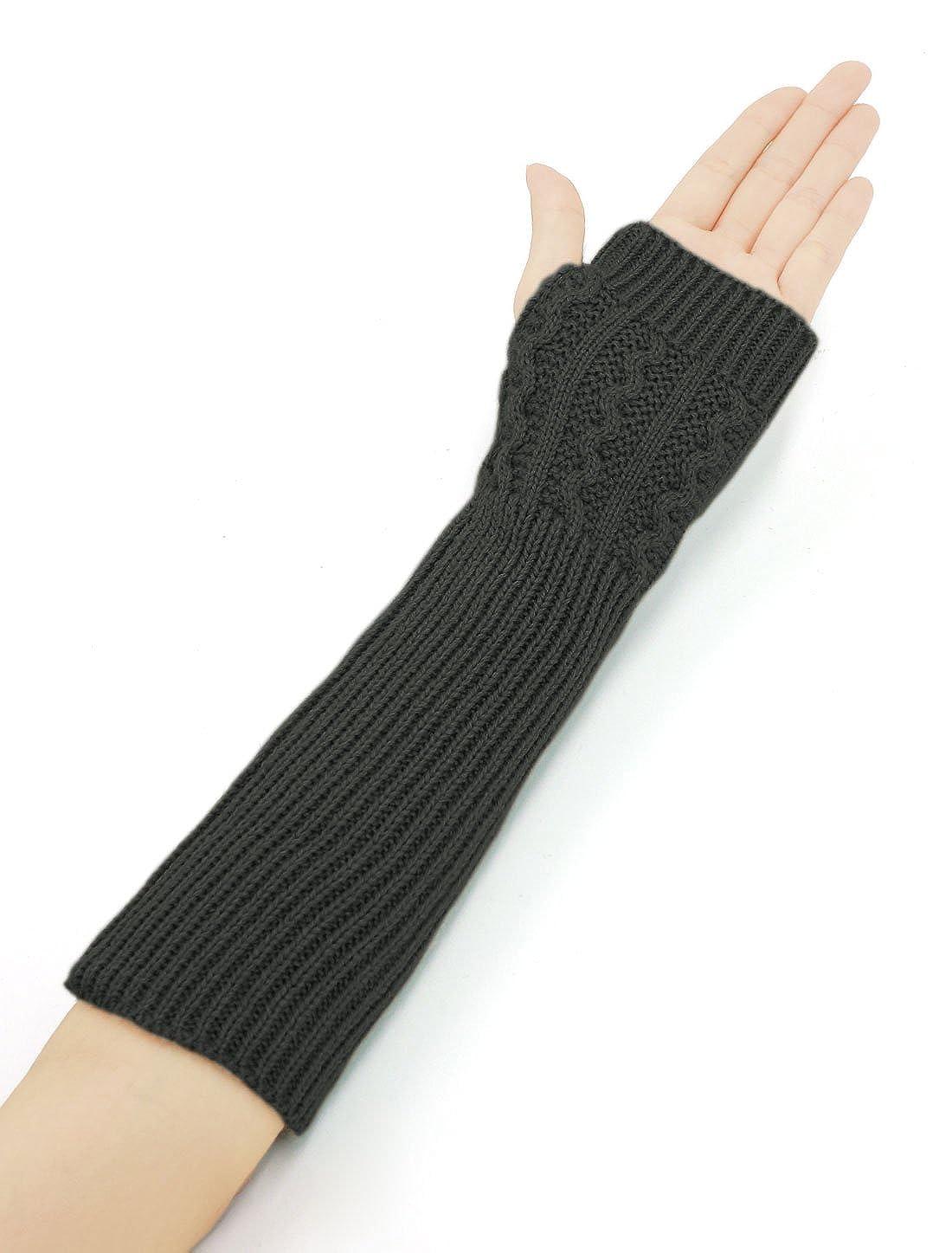 Allegra K Women Ribbed Knit Fingerless Gloves Pair Dark Grey