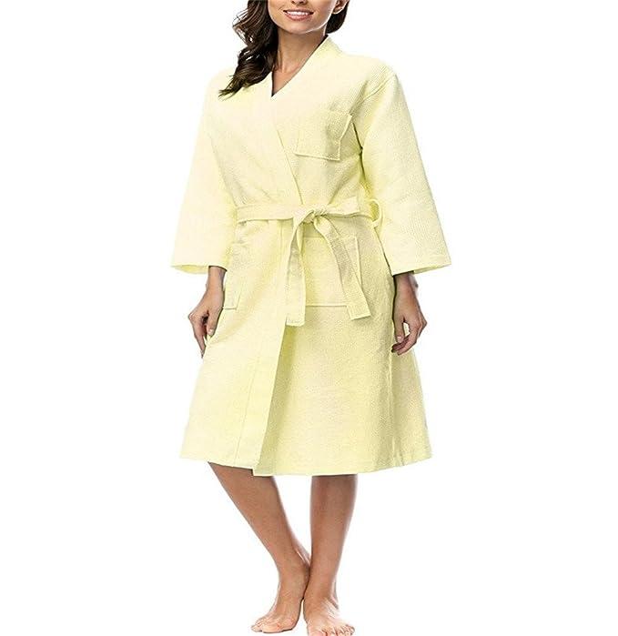 Fortunings JDS Cozy Ligero 100% algodón Waffle Vestido de Vestir Batas para Las Mujeres: Amazon.es: Ropa y accesorios