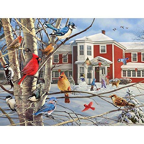 es Winter Gathering - 1000 Piece Jigsaw Puzzle (White Mountain Puzzles Birds)