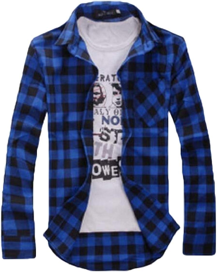Nanquan Men Casual Plaid Print Slim Fit Button Up Long Sleeve Hipster Shirt