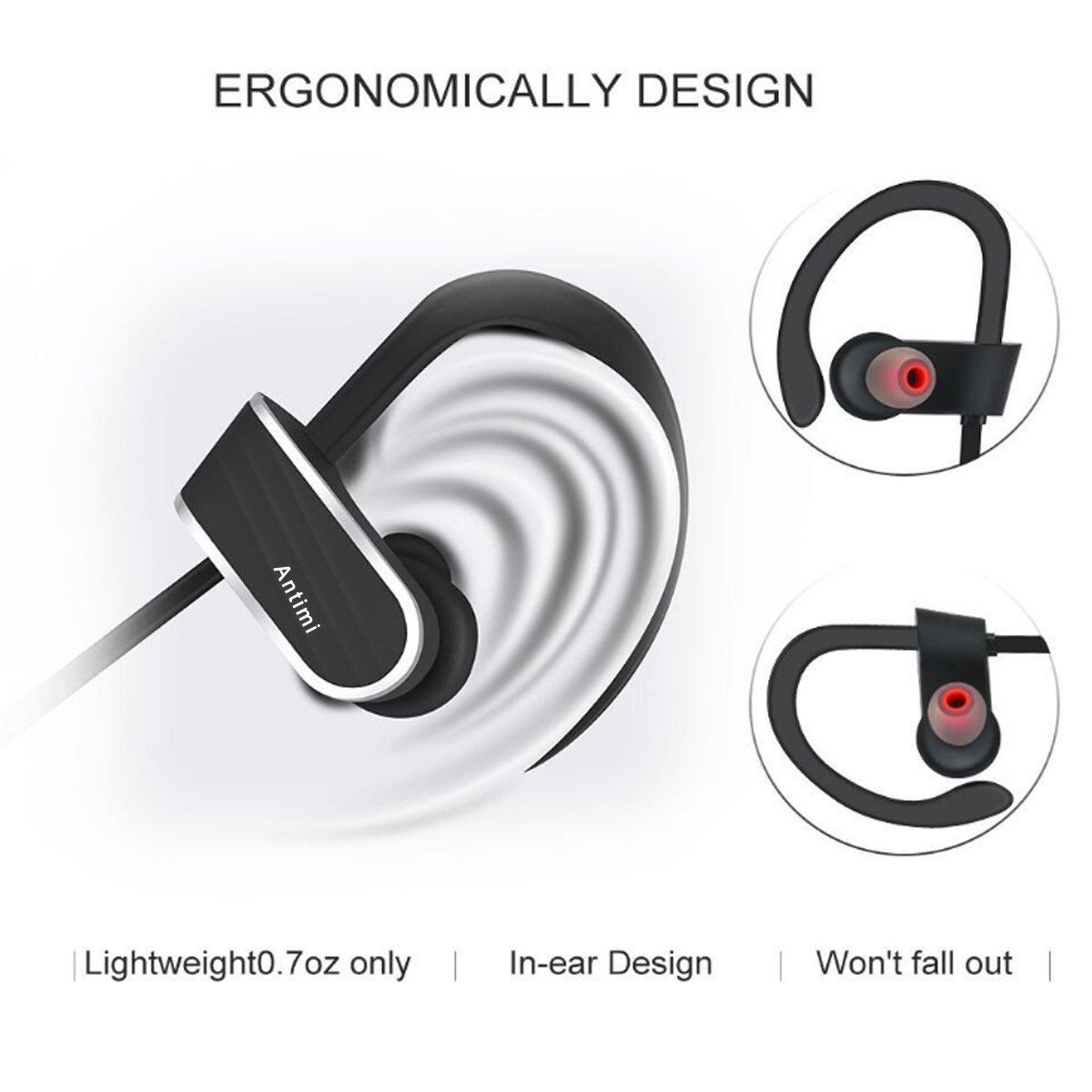 Antimi Auriculares Bluetooth Inalámbricos con micrófonos Headphones In Ear Wirelesspara Apple iPhone 6, 6s, 7 Plus Samsung Sony Huawei Movil, PC, ...