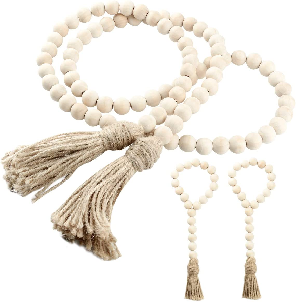 LEJHOME Wood Bead Garland, 3PCS Tassels Farmhouse Beads for Wall Hanging Decor, Rustic Country Prayer Beads for Holiday Decoration