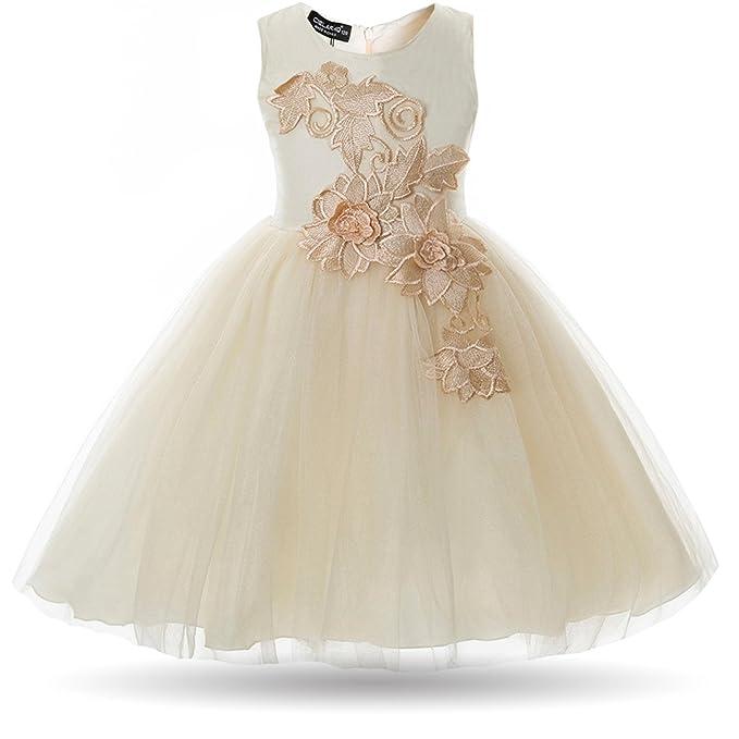 5fd9a5bfc CIELARKO Vestido de Princesa para Niña de Ceremonia: Amazon.es: Ropa y  accesorios