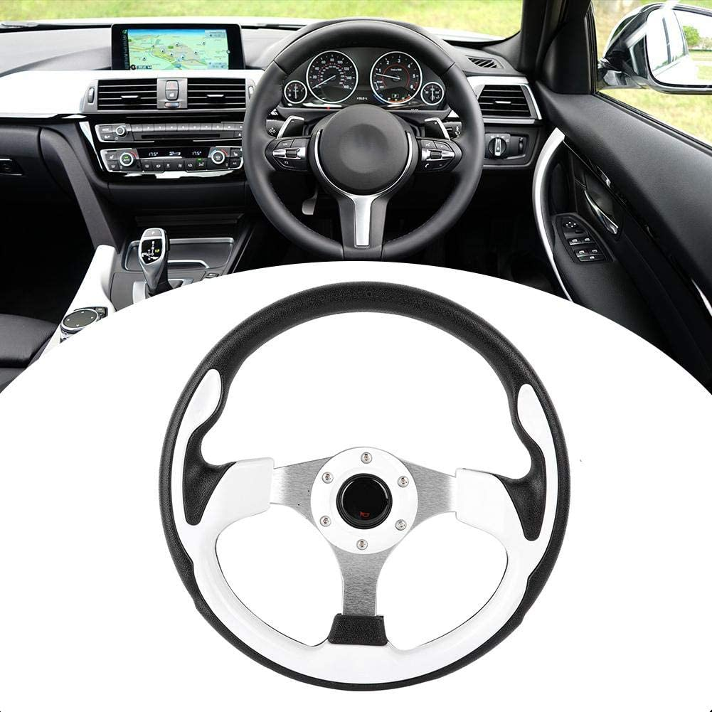 13in 320mm Universal PU Leather Car Sport Racing Drift Steering Wheel White Qiilu Steering Wheel Racing Steering Wheel