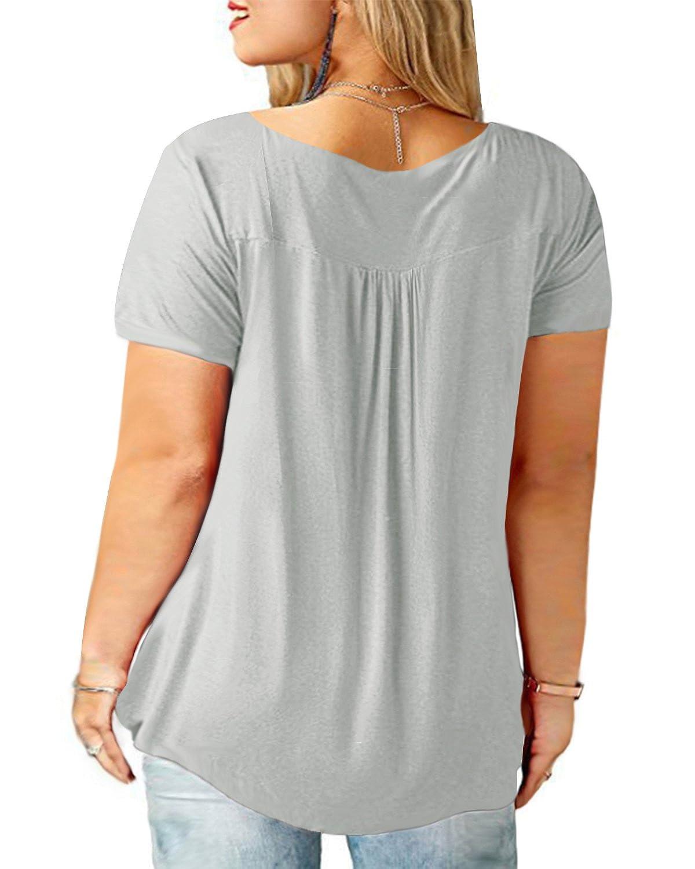 Ranphee Grande Taille T-Shirts /à Femme Manche Courte Casual Blouse Et/é col v Tops