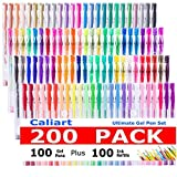 CLEARANCE SALE!Caliart 200 Gel Pens Coloring Set - 100 Gel Colored Pen plus 100 Refills for Adults Coloring Books, Drawing, Writing