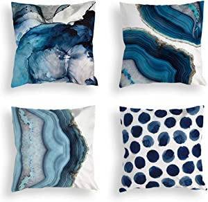 Whim-Wham Set of 4 Navy Blue Marble Throw Pillow Covers Watercolor Sea Stone Natural Street Fashion Home Decor Pillow Covers for Bedroom Living Room Car.