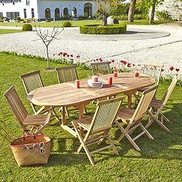 Table de Jardin en Bois de Teck avec rallonge 8 à 10 Places: Amazon ...