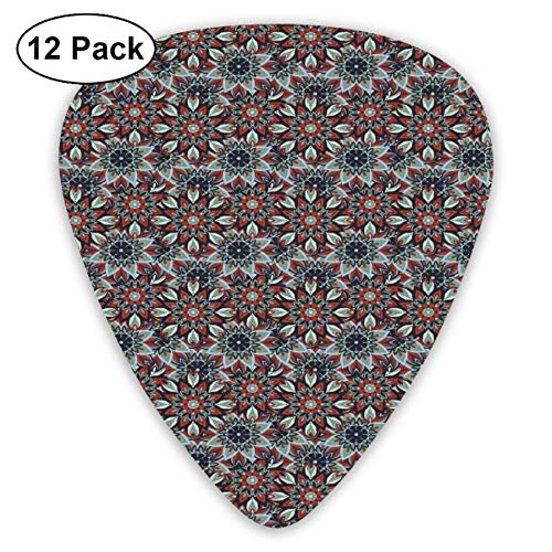 Guitar Picks 12-Pack,Arabic Ottoman Style Motifs Folkloric Nature Inspired Elements Native Floral Art ()