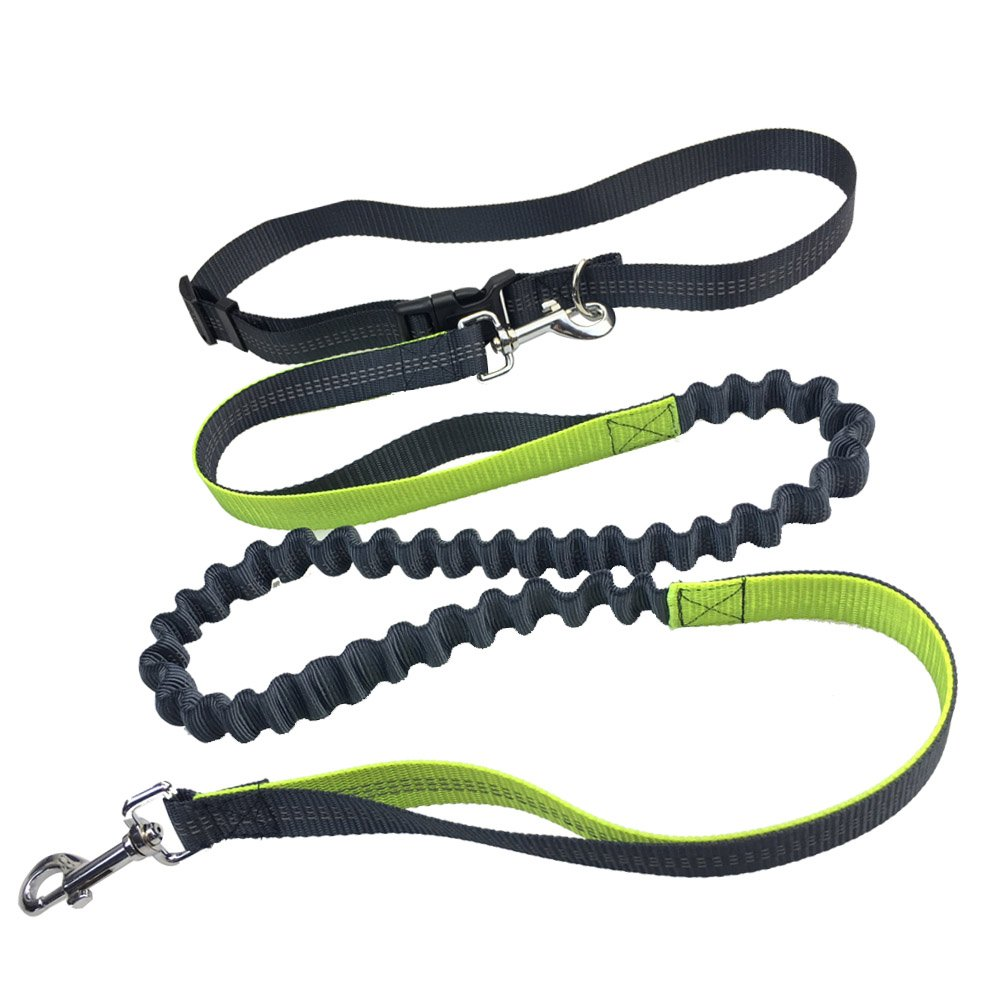 NewEastRock 5-Foot Durable Dual-Handle Bungee Leash, Hands Free Dog Leash for Running, Walking, Hiking, Reflective Stitching, Adjustable Waist Belt (Fits up to 50 Waist)