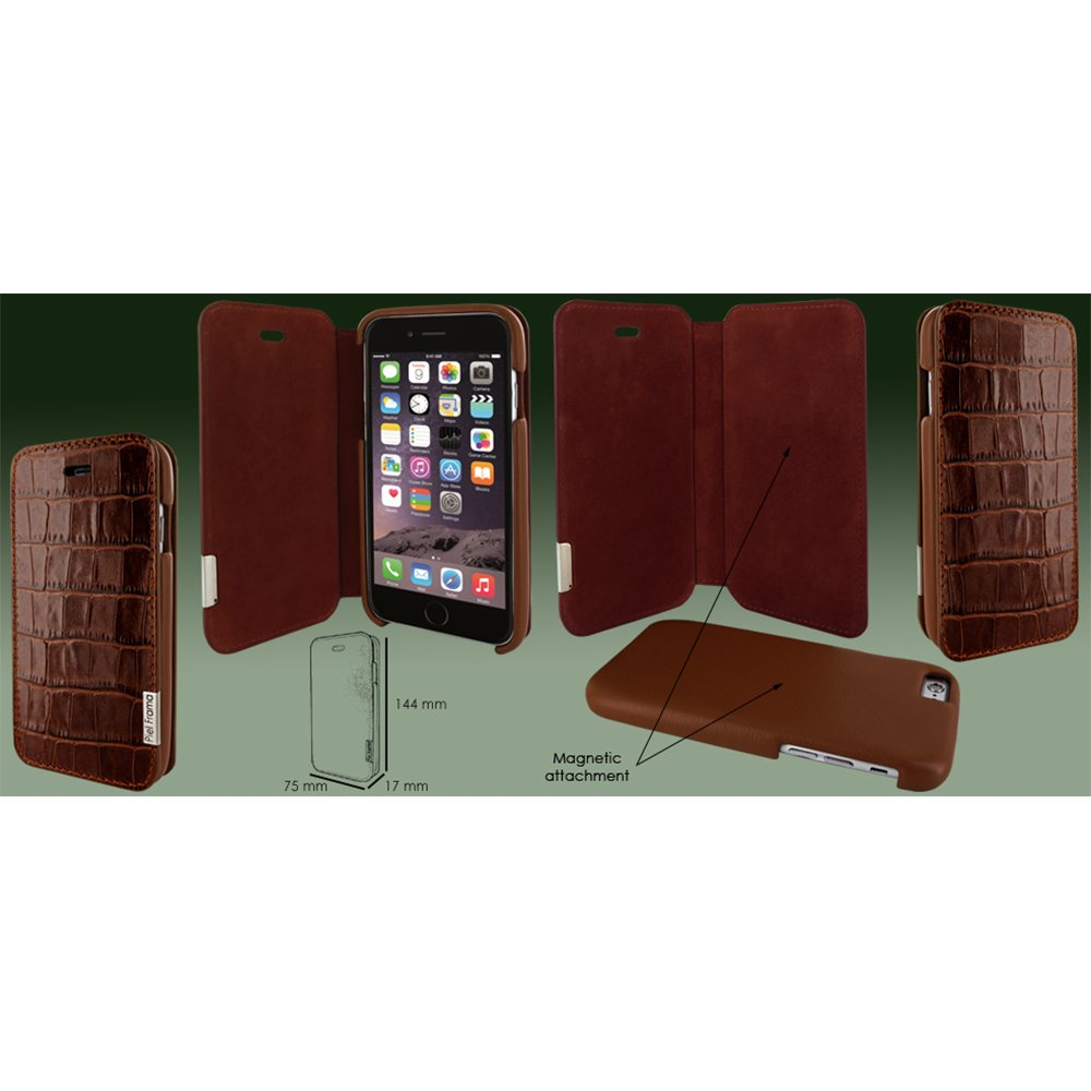 Piel Frama Wallet Case for Apple iPhone 6 / 6S - Crocodile Brown
