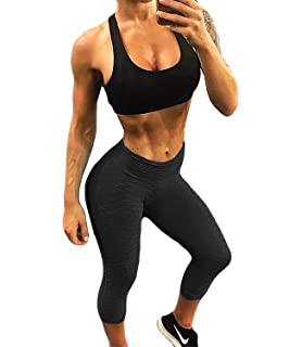d18164be59679 Fittoo Women's Honeycomb Ruched Butt Lifting High Waist Yoga Pants Chic  Sports Stretchy Leggings
