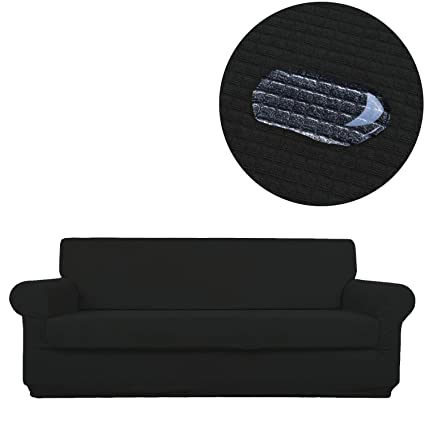 ANJUREN Sofa Couch Slipcover Water Repellent Oversize 2 Piece 4 Seater Cushion Sofa Couch Cover Waterproof Replacement Polyester Spandex Stretch ...