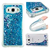 Galaxy J7 2016 Liquid Case,Galaxy J7 2016 Floating Case,Leecase Luxury Beauty Bling Shiny Sparkle Glitter Cover Blue Purple Love Heart Quicksand Flowing Creative Design Crystal Transparent Clear Plastic Soft TPU Protective Shock Proof Shell Case Cover Bumper for Samsung Galaxy J7 2016 + 1 x Free Black Stylus