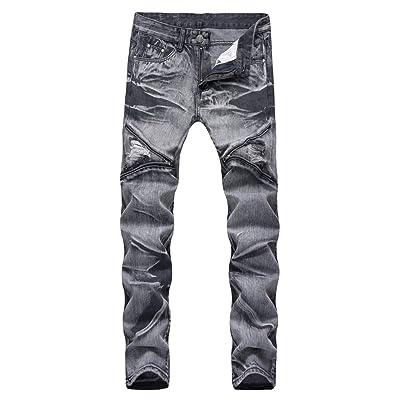 LONGBIDA Mens Ripped Slim Straight Fit Biker Jeans Moto Denim Pants with Zipper Deco at Men's Clothing store