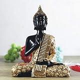 Renown Handcrafted Meditating Lord Buddha Polyresin Showpiece (15 cm x 7. 5 cm x 20 cm, Golden)