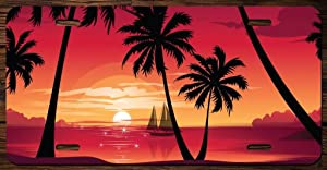 Beautiful Sunset with Palm Trees Vanity Front License Plate Tag Printed Full Color KCFP044