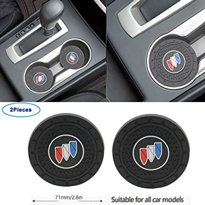 Luckily-2.8 Inch Diameter Oval Tough Car Logo Vehicle Travel Auto Cup Holder Insert Coaster Can 2 Pcs Pack for Buick Accessories (for Buick): Automotive