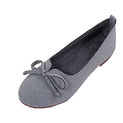 AalarDom Women's Solid No-Heel Pull-On Round-Toe Flats-Shoes with Bowknot