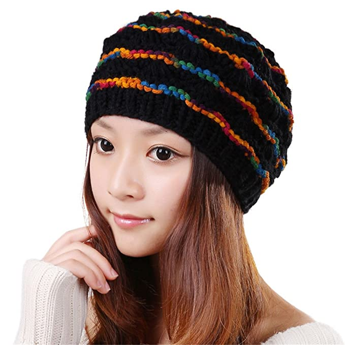 BIBITIME Winter Women Knitted Hat Multicolor woolen yarn Crochet Stripes  Beanie (One Size dfb18aa224d6