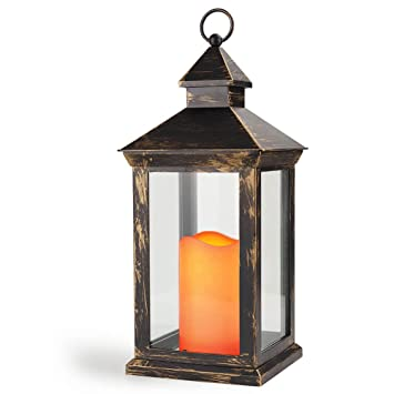 BRIGHT ZEAL 14u0026quot; TALL Vintage Decorative Lantern With LED Candle    Bronze Lanterns   Outdoor