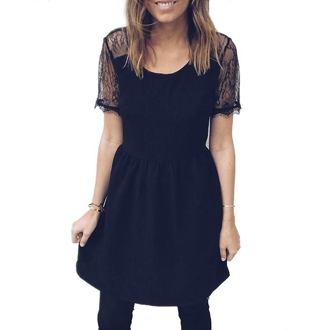 TOOGOO Vestido de fiesta negro de almazuela de las senoras Vestidos sin espalda de encaje puro