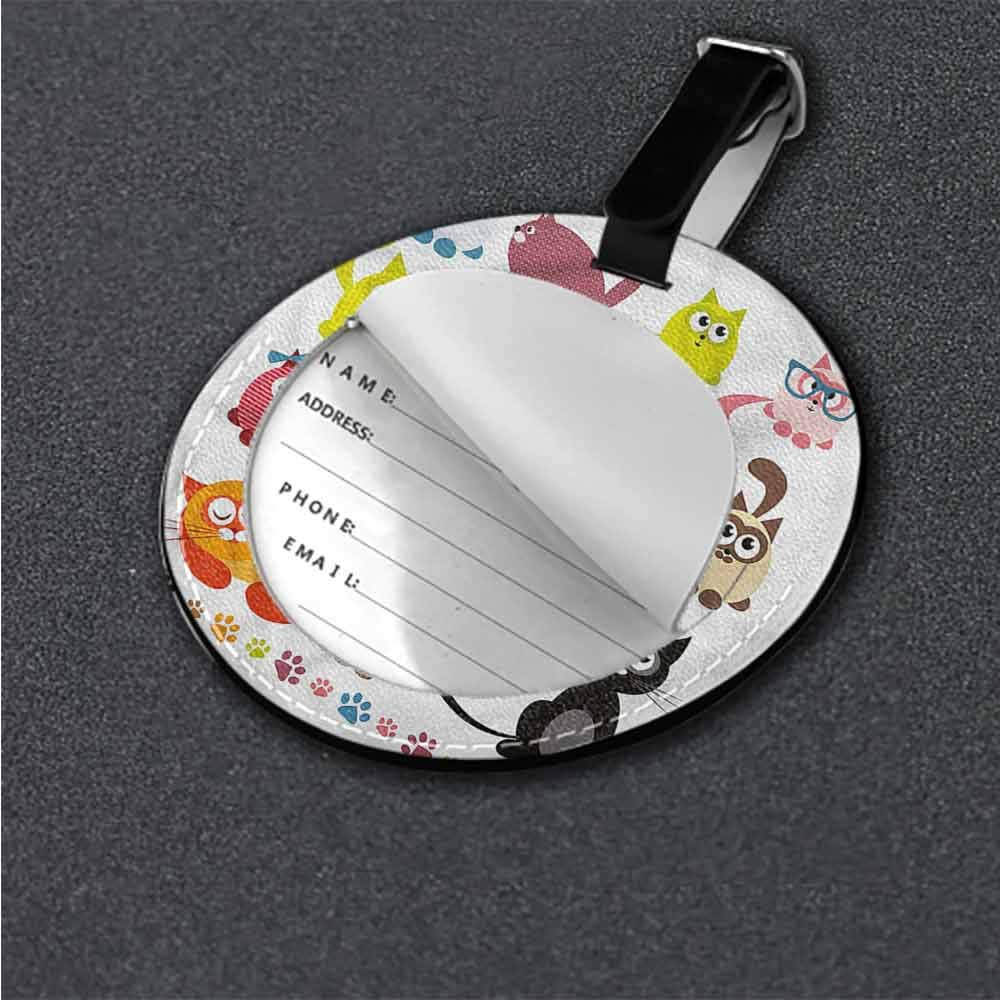 Round Leather Luggage Cute,Bunny Holding a Heart Balloon Tag Portable Women