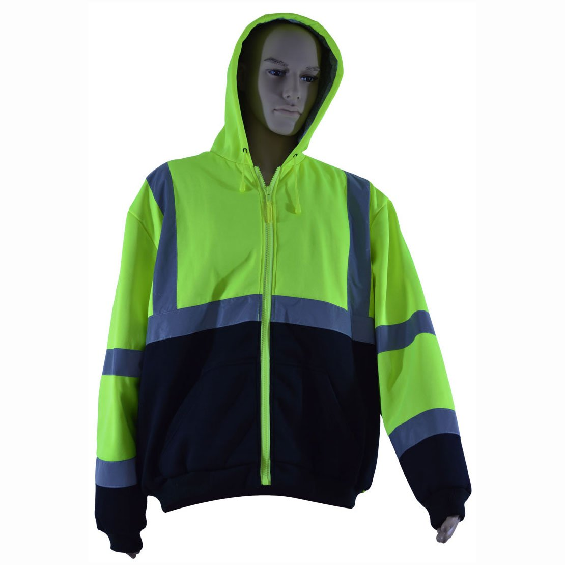 Petra Roc LBHSW-C3-S Thermal Lined Sweatshirt Hoodie Lime/Black Two Tone, ANSI 107-Class 3, 2 Slash Pockets, Zipper Closure, S