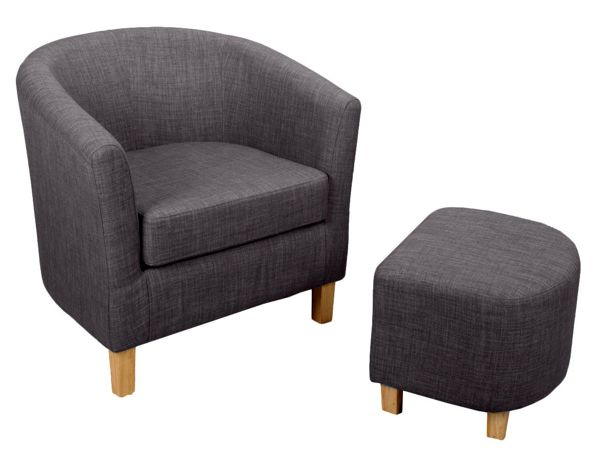 Shankar Linen Effect Tub Chair Set with Footstool, Charcoal ...