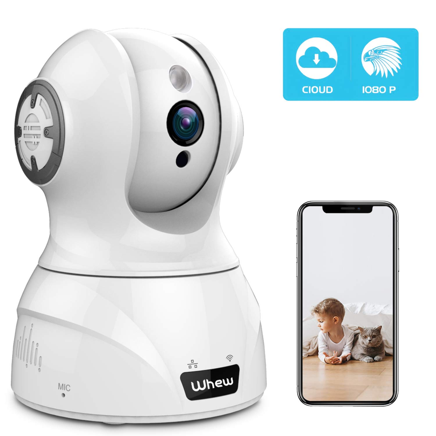 Wireless Home Security Camera, Whew 1080P WiFi Camera Indoor Compatible with Alexa, Night Vision Baby Monitor Nanny Camera Pet Camera with 2-Way Audio, Motion Detection, Cloud Storage by Whew