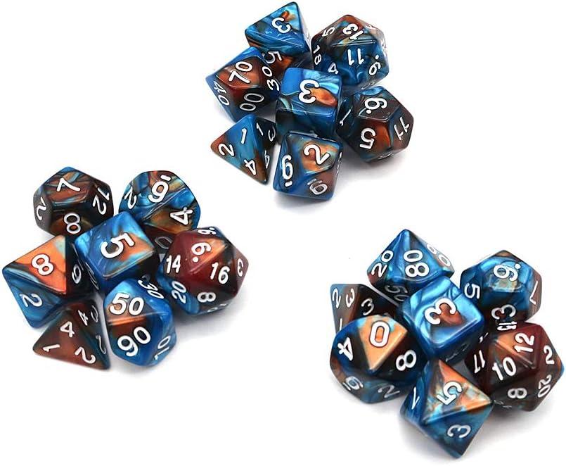 Gr/ün und Gold 21 St/ück DollaTek Polyhedral Dice Set Tischspiele W/ürfel 3 S/ätze W/ürfel 3 x 7 W/ürfel Serie D20 D12 D10 D8 D6 D4 DND W/ürfel DND RPG MTG Doppelfarben Einteilig