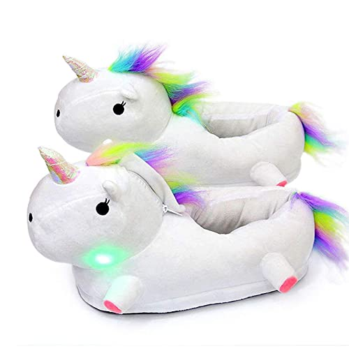 Queque Shine Zapatillas Unicornio Mujer Invierno de Cálido Pantuflas (Blanco Rosa Morado) (Blanco