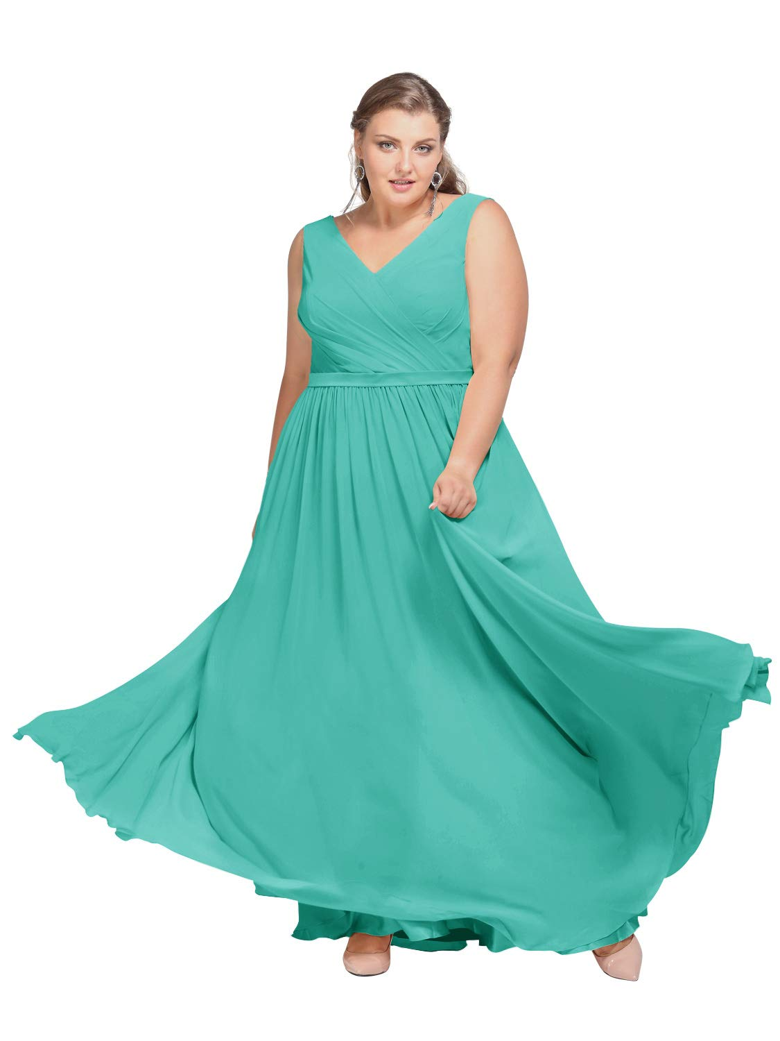 AW V-Neck Bridesmaid Dresses Chiffon Formal Prom Dresses Long Plus Size  Evening Gowns, Tiffany, US30