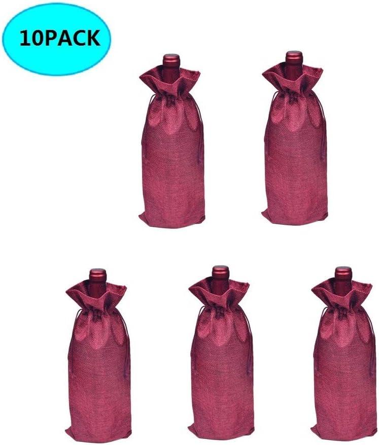 BestTas 50PCS Sacchetti di Vino di Iuta avvolgono Confezioni di Sacchetti di Bottiglia di Vino di Iuta di Lino Naturale con Cordino 35 x 15 cm Beige