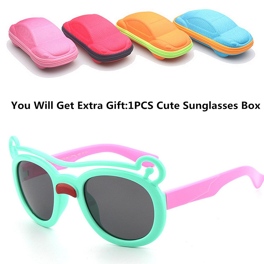 d37fdb889f Ju-sheng Oso de Dibujos Animados Gafas de Sol Flexibles para niños Marco de  Gel de sílice Lentes polarizadas Protección UV Niños y niñas Edad 3 a 12 con  ...