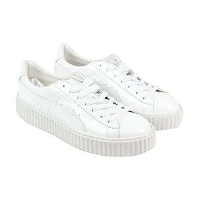 bd780c6a3d4 Puma Basket Creepers Glo Rihanna Womens White Patent Leather Trainers Shoes   Amazon.co.uk  Shoes   Bags