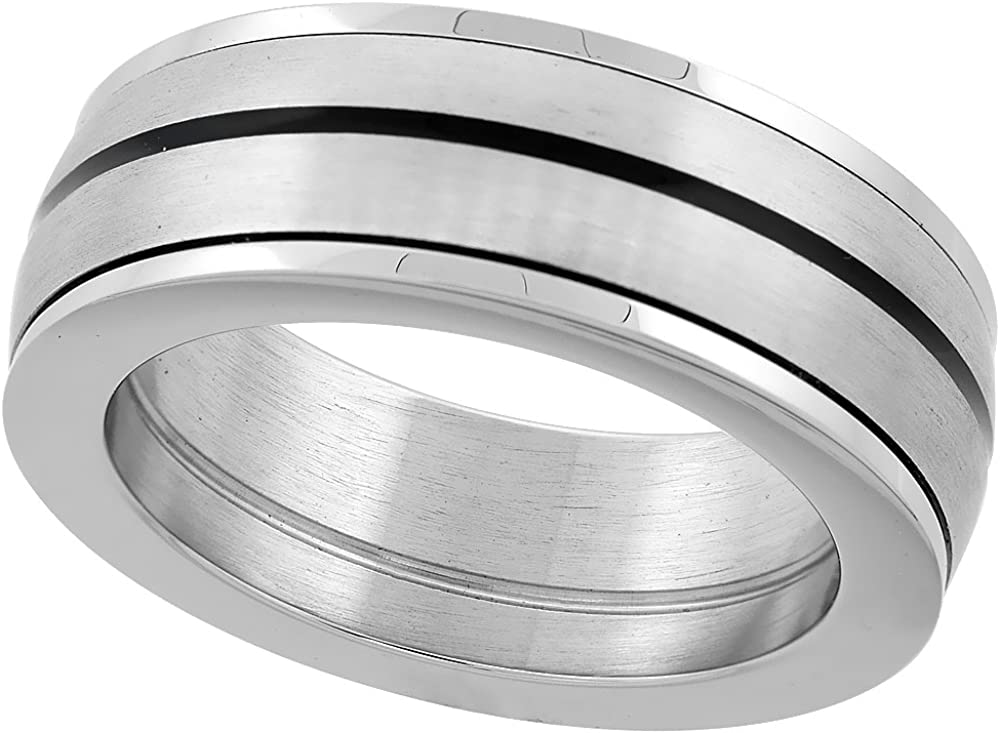 Sabrina Silver Stainless Steel 8mm Domed Spinner Ring Wedding Band Black Stripe Polished Edges Thick, Sizes 8-14