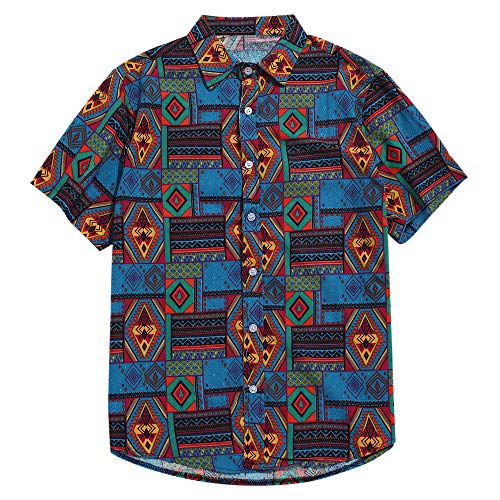 ZAFUL Men's Casual Ethnic Tribal Geometric Floral Paisley Print Short Sleeve Shirt (Blue, XL)