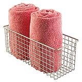 mDesign Bathroom Wire Storage Basket to Hold Bath Towels, Shampoo, Health and Beauty Supplies - Deep, Satin