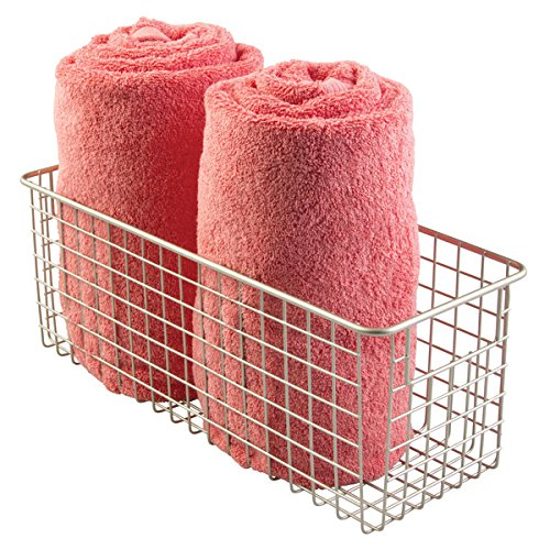 mDesign Bathroom Wire Storage Basket to Hold Bath Towels, Shampoo, Health and Beauty Supplies - Deep, Satin