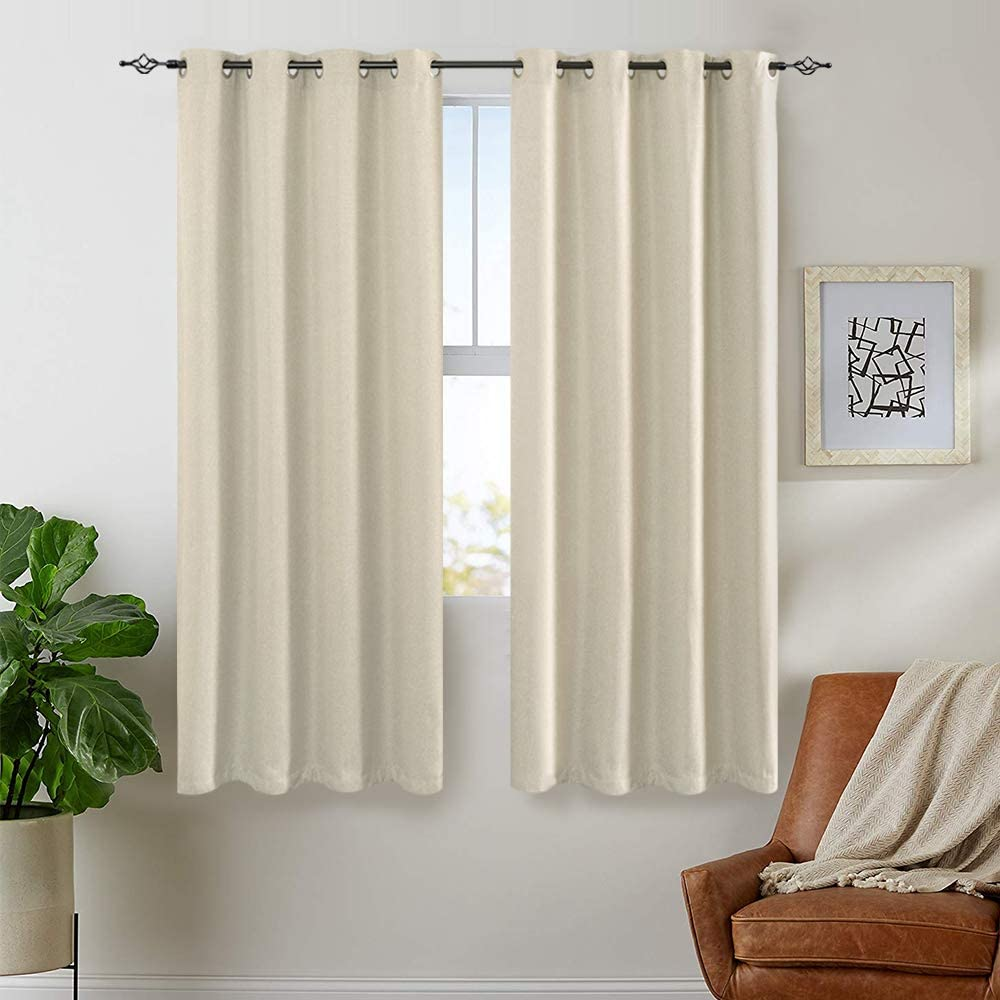 jinchan Linen Fabric Curtains Room Darkening Window Treatment Set for Bedroom 63 inch Long Thermal Insulated Living Room Curtain Greyish Beige 1 Pair